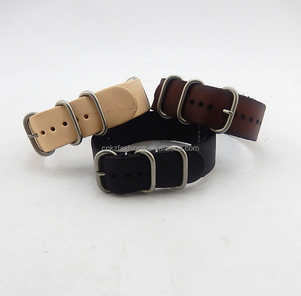 nature/brown/black genuine leather zulu watch strap