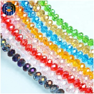 Pujiang glass beads manufacturer 8mm faceted rondelle crystal beads