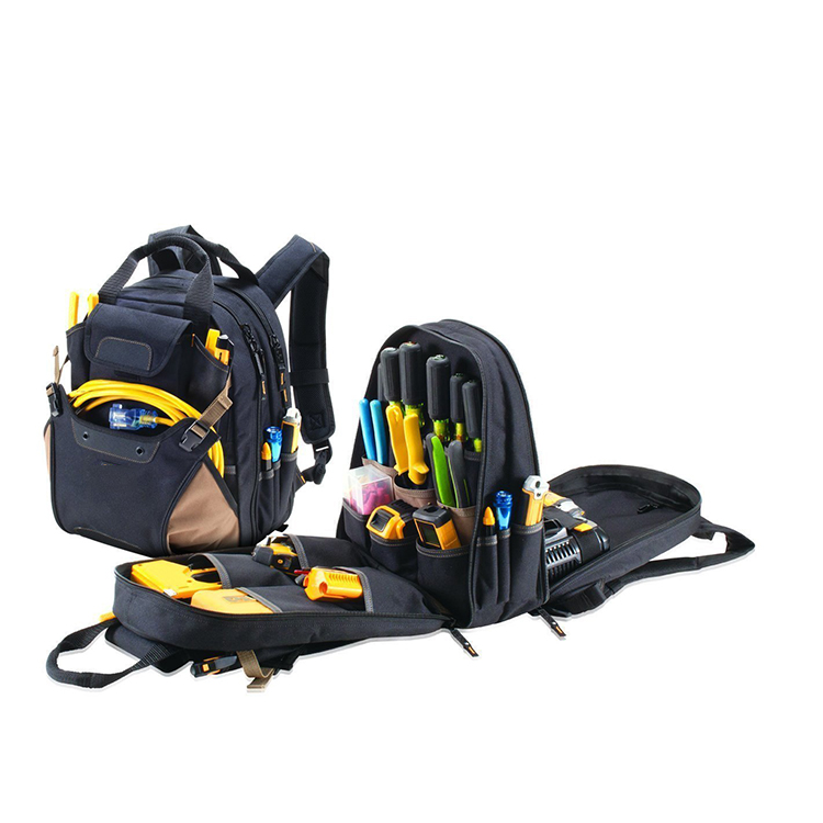 1TL0083 Telecom Workers Electrician Tool Backpack Bag with Tote Handle Multiple Pockets for Tools Wires