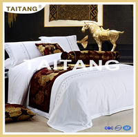 Factory price 5 star luxury hotel cotton bedding set 400TC embroider flower