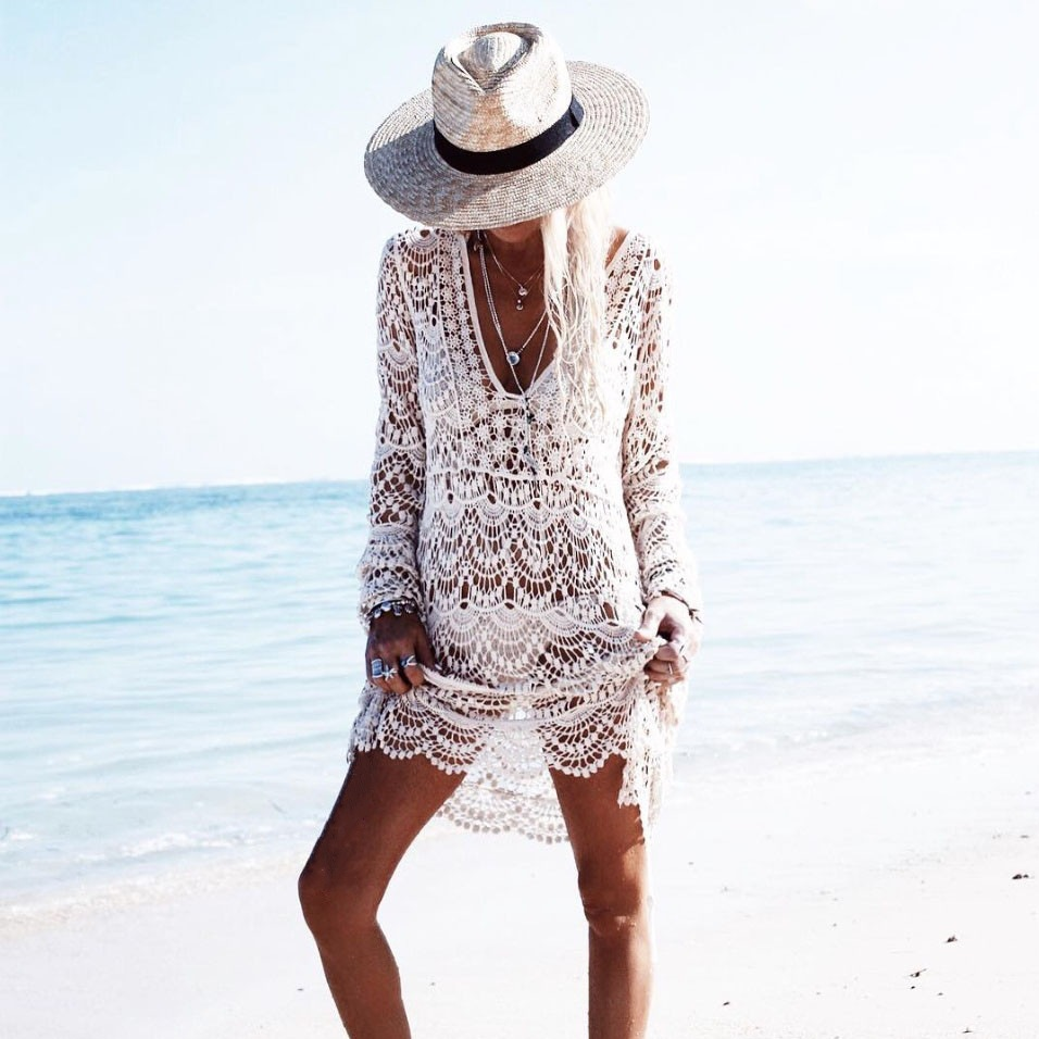 Fashion Lace Corchet Swimwear Women Sexy Cover Up Beach <strong>Dress</strong>