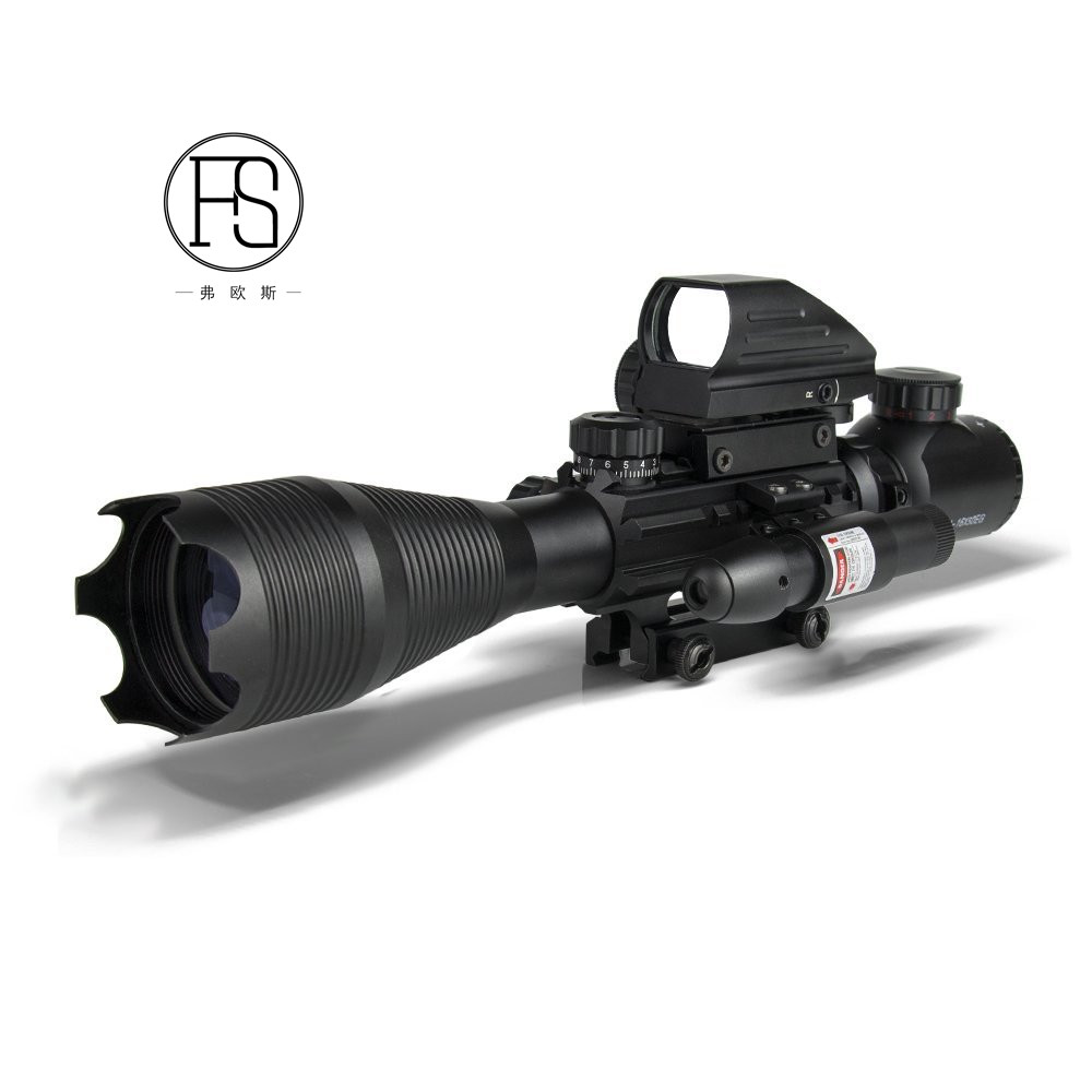 Tactical Hunting 4-16x50EG Red And Green Dot Illuminated Rifle Scopes, Black
