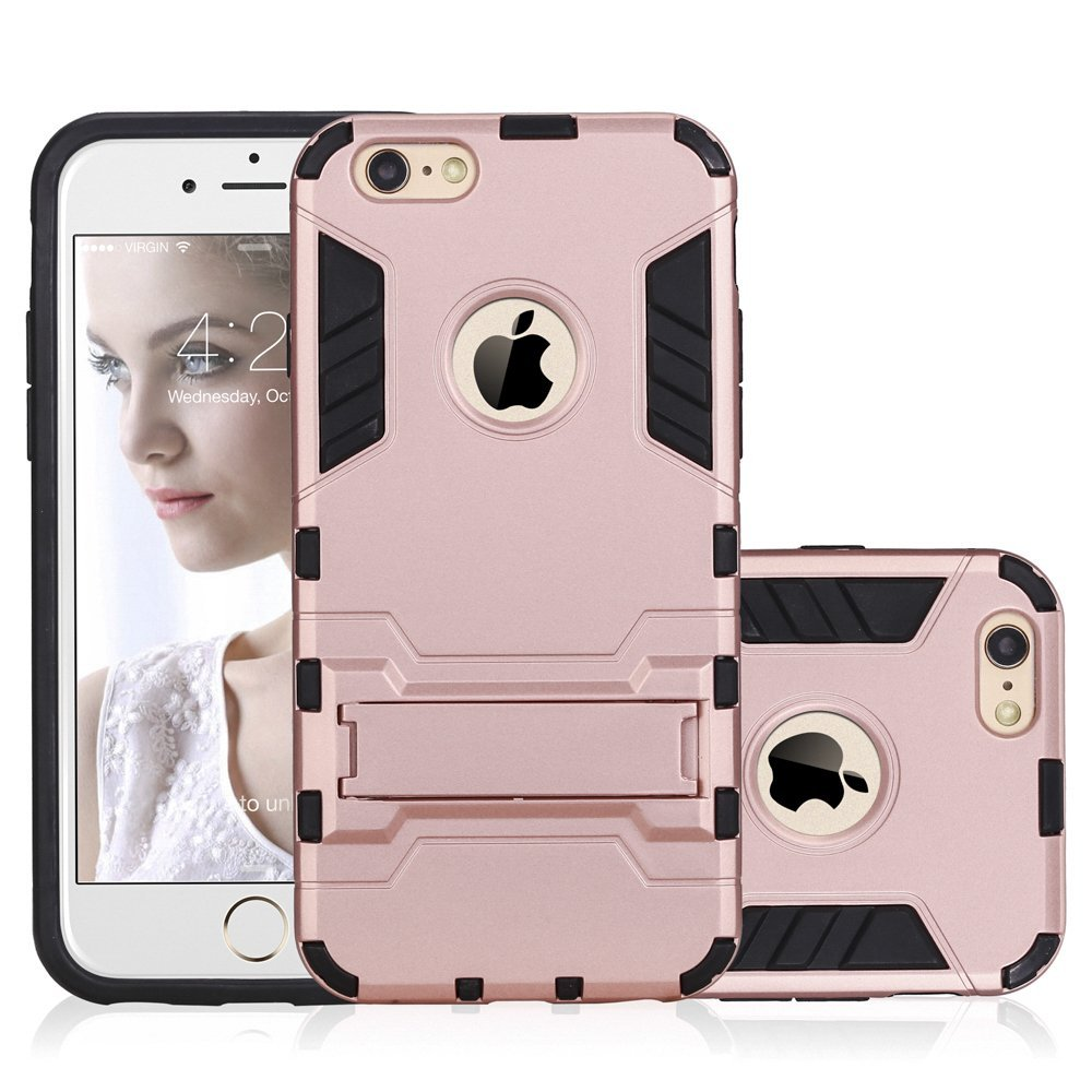 iPhone 6s Plus Case, NOVT Dual Layer [Hard Plastic with Soft Rubber] Shockproof Hybrid Kickstand iPhone 6 Plus Case Protective Phone Case Cover for Apple iPhone 6/6S Plus 5.5 Inch (Rose Gold)