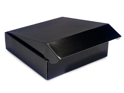 "Decorative Shipping Boxes - Black Gourmet Shipping Boxes 12x12x3"" Auto Lock Boxes - (6 Per Pack) - WRAPS - 54BK"