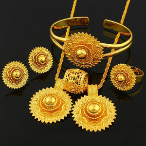 18K Gold Plated High Quality African Jewelry Ethiopian Wedding Jewelry Sets Wholesale