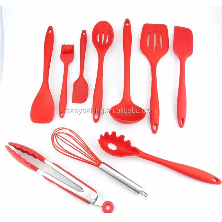 Silicone Kitchen Utensils, 10 Piece Cooking Utensil Set Spatula, Spoon, Ladle, Spaghetti Server,.jpg
