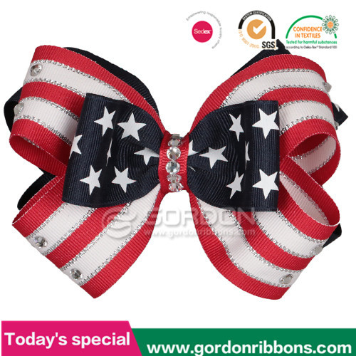 American flag decoratve grosgrain ribbon hair bow/Gift decoration hair bow/ribbon bow with metal clip