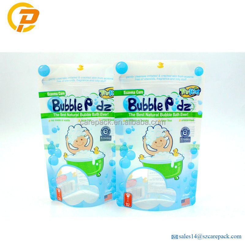 Customized Plastic Bubble Podz Stand Up Ziplock Bag