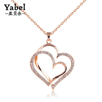 Gold Chain Necklace Designs Double Puffy Heart Pendant Necklace With Rhinestone Buy Gold Chain Necklace Designs Double Heart Necklace Puff Heart Pendant Product On Alibaba Com
