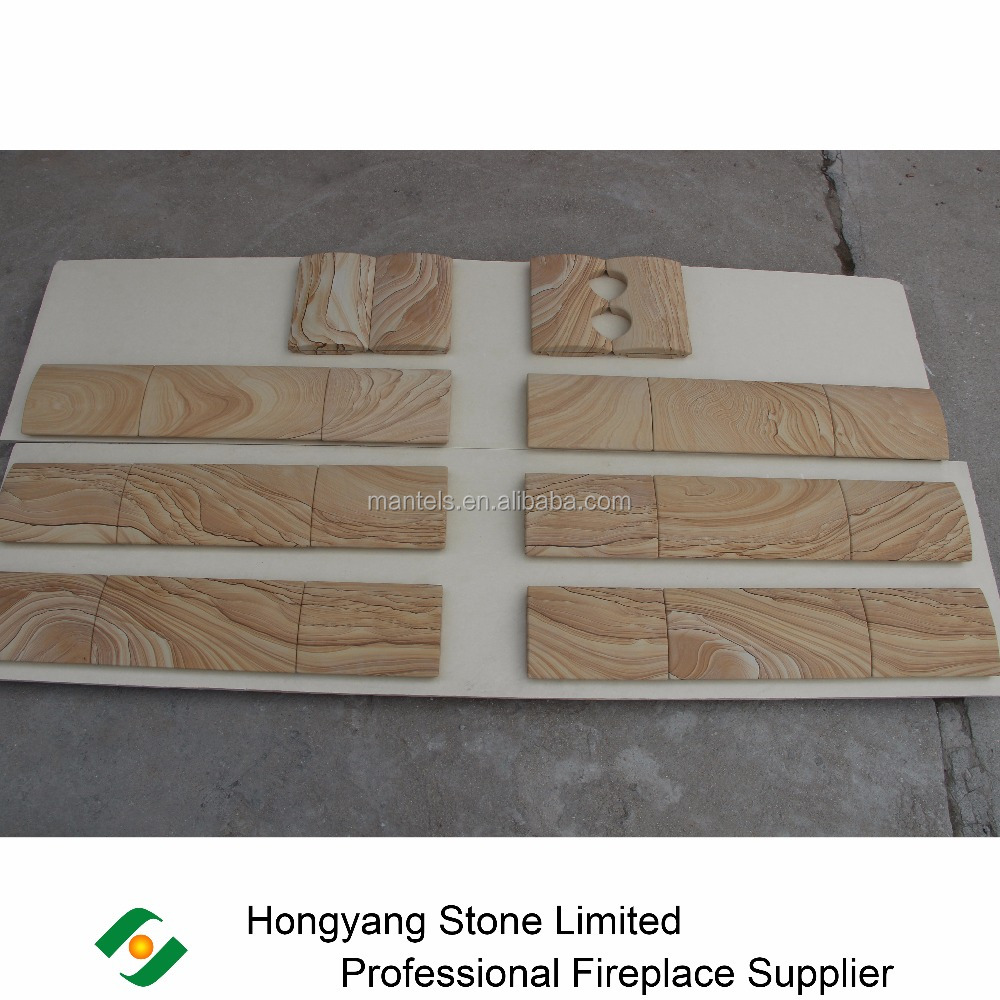 Well Color Matched Yellow Sandstone For Freestanding Round Stove Cladding