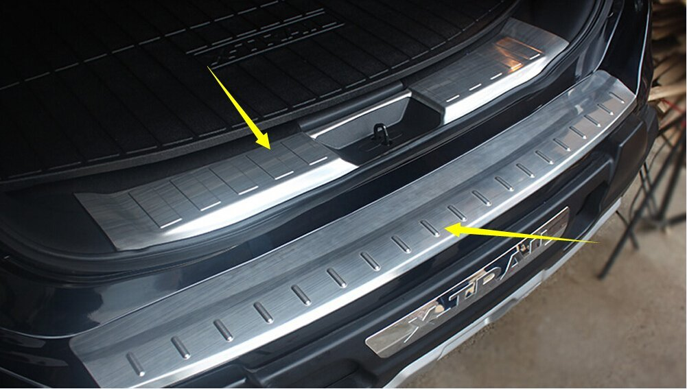 Salusy 2pcs Inner/&Outer Rear Bumper Protector Sill Plate Guard Cover for Hyundai Tucson 2016 2017 2018 2019