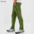 KY OEM Drawstring waistband Popper sides pockets Skinny fit retro track skinny joggers men with stud and piping in green