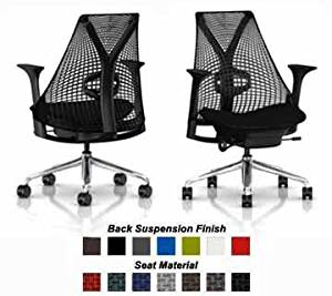 Herman Miller Sayl Chair Home Office Desk Task Chair - SAYL Aluminum Chrome Work Chair with Fully Adjustable Black Arms, Tilt Limiter and Forward Seat Angle, Adjustable Seat Depth, Black Y-Tower Back and Aluminum Base, Adjustable Lumbar Support, Black Back Rest Suspension, Black Crossing Fabric