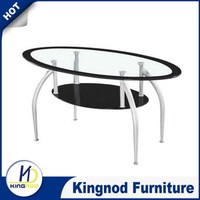 Glass center tables with shelf Oval Center Table
