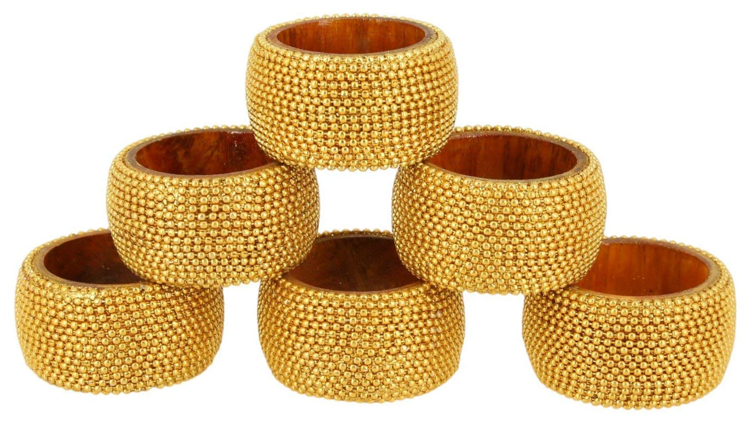 ShalinIndia Handmade Indian Gold Aluminum Ball Chain Wooden Napkin Ring Set - Set of 6 Napkin Rings - Industrial Chic Look - Made in India