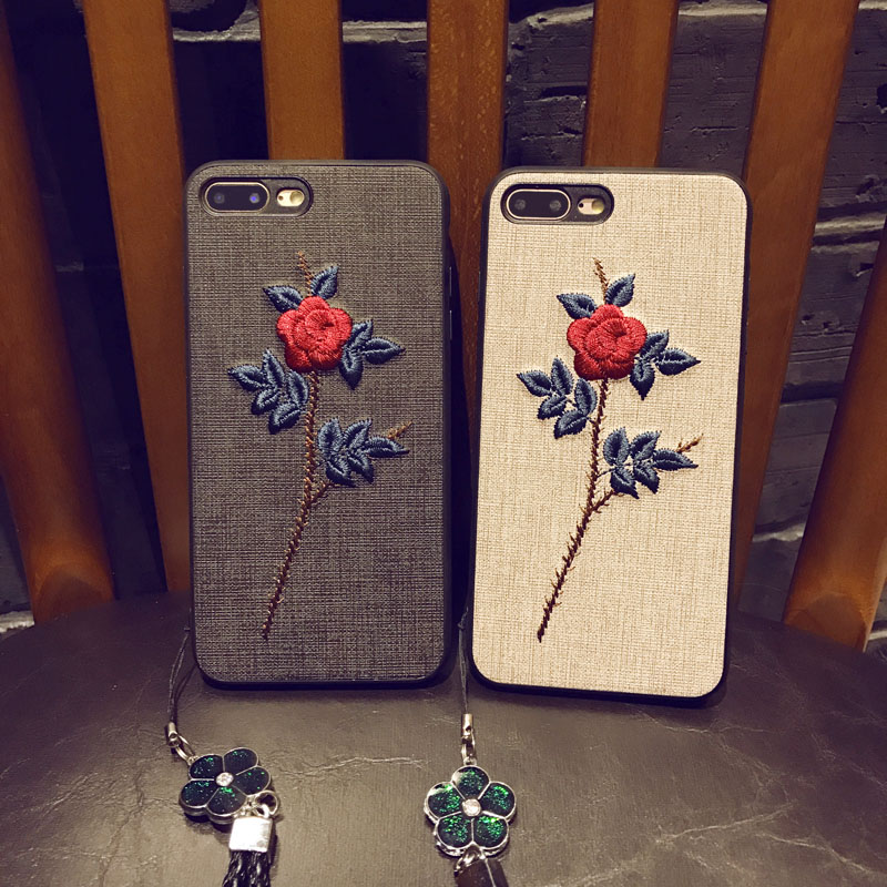 Embroidery Flower TPU Unbreak Cell Phone Cases with Pendant for Iphone