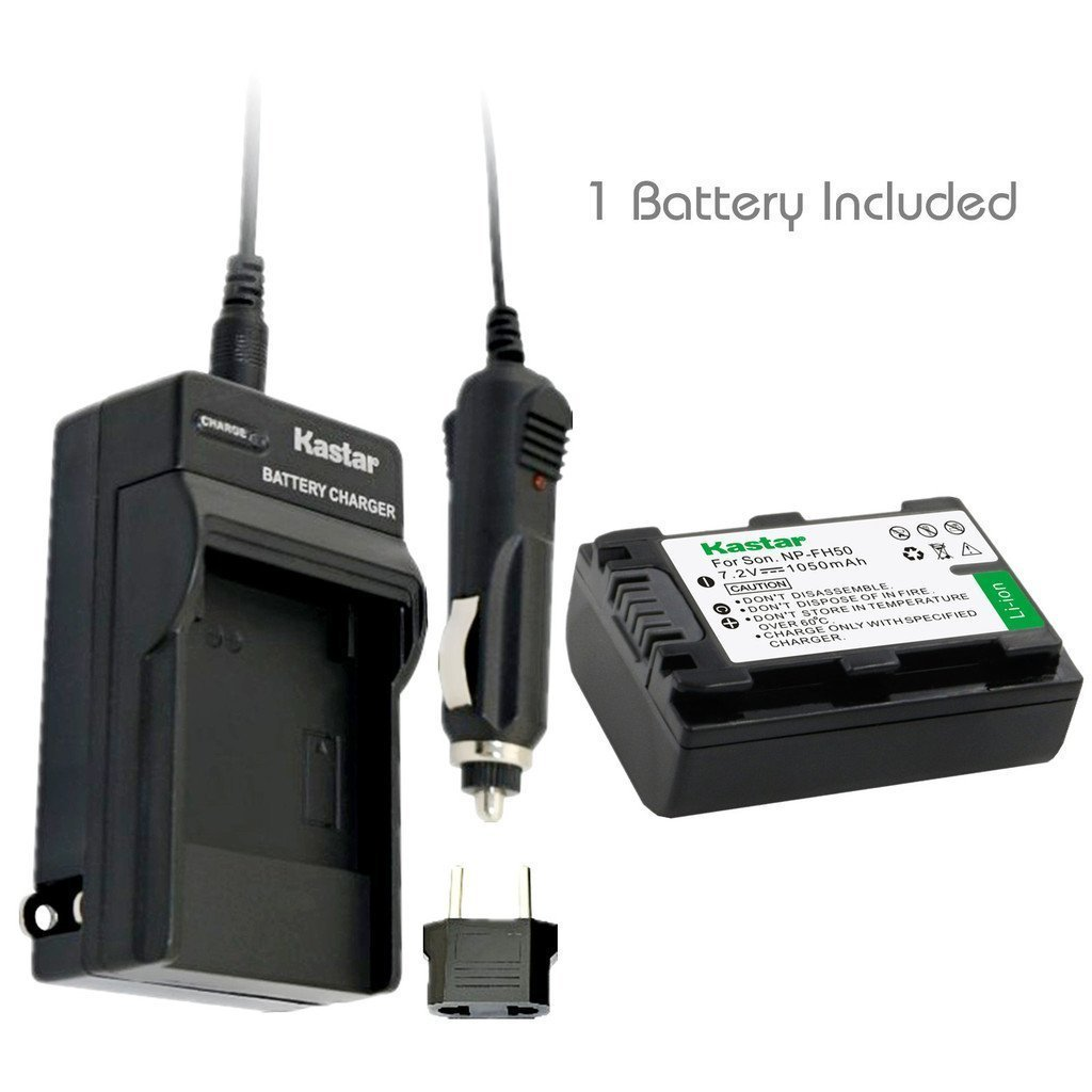 Kastar Battery (1-Pack) and Charger Kit for Sony NP-FH50, NP-FH40, NP-FH30, NP-FP50, NP-FP51 work with Sony DSLR-A230, DSLR-A330, DSLR-A290, DSLR-A380, DSLR-A390, HDR-TG1E, HDR-TG3, HDR-TG5, HDR-TG5V, HDR-TG7, DSC-HX1, DSC-HX200,?DSC-HX100V