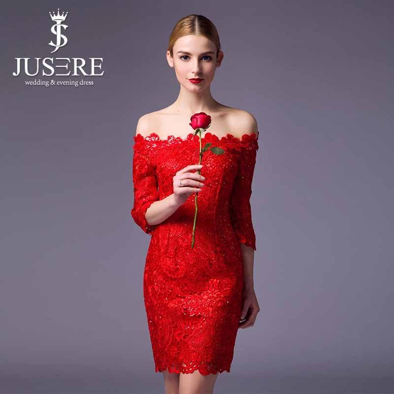 Elegante fuera del hombro vestido de noche rojo corto vestido de noche de encaje de manga