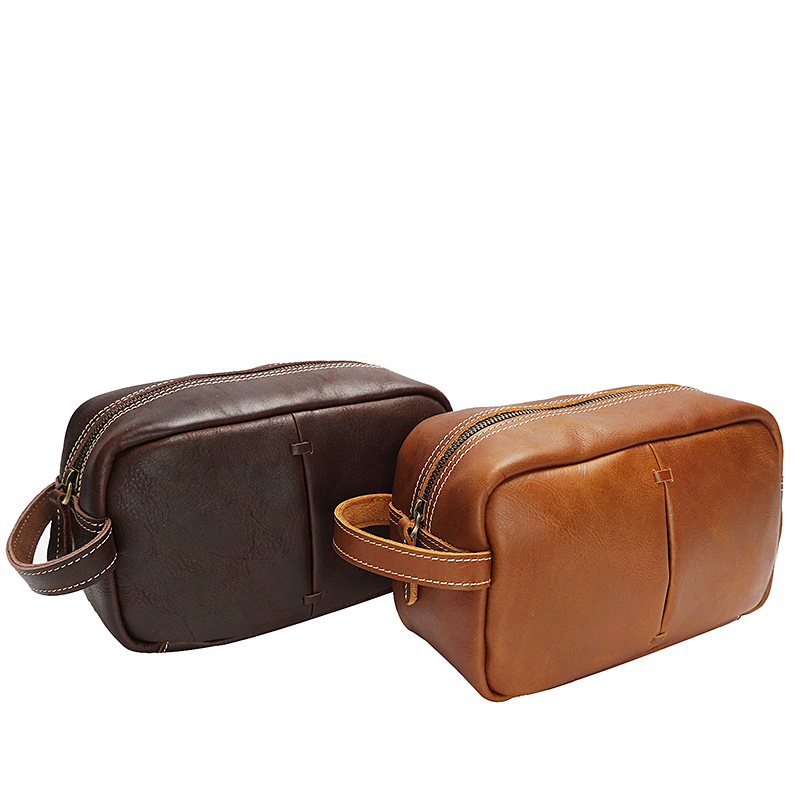 YD-8102 Custom Men Leather Fashion <strong>Travel</strong> Make up Cosmetic Toiletry Bag