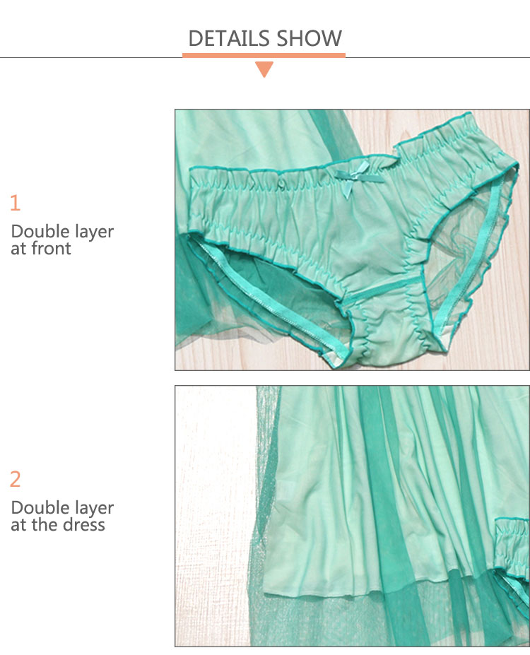 New arrival double layer night mesh transparent sexy sleepwear women girls sexy pic babydoll