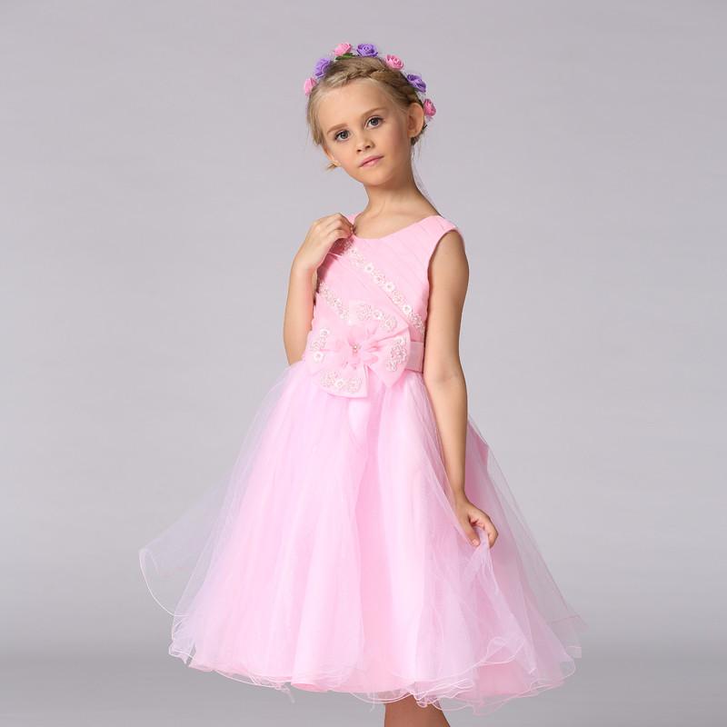 Nuevos bebés vestidos de fiesta Rosa princesa organza bordado ...