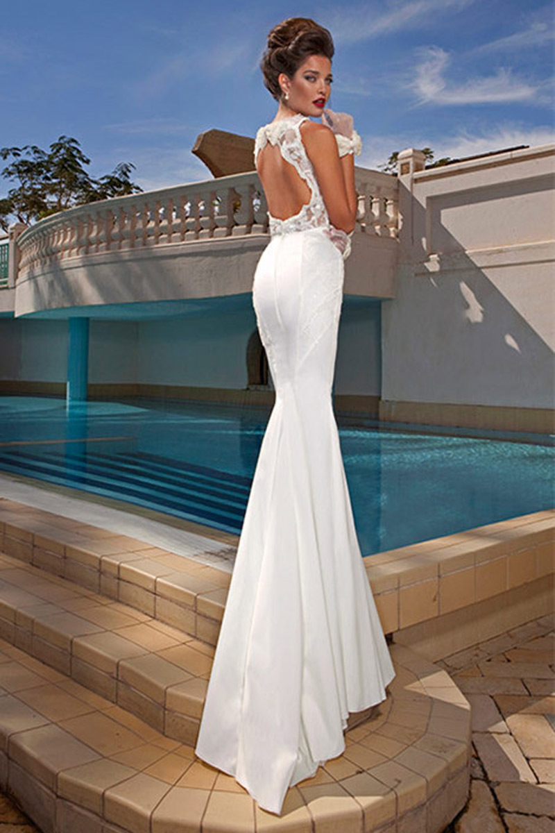 Open back wedding dresses with bow