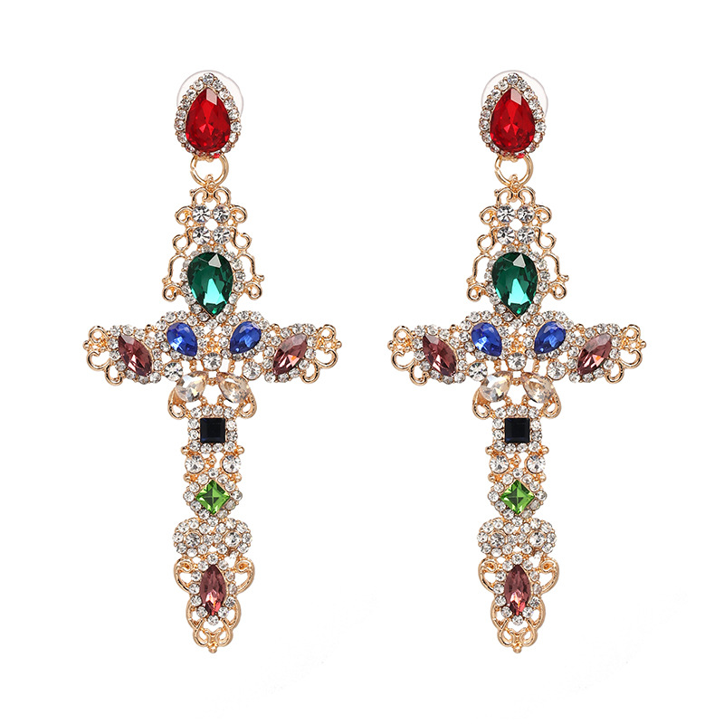 New Trendy European Women Party Jewelry Elegant Long Style Gold Plated Alloy Colorful Shiny Cubic Zirconia Cross Dangle Earrings, As picture