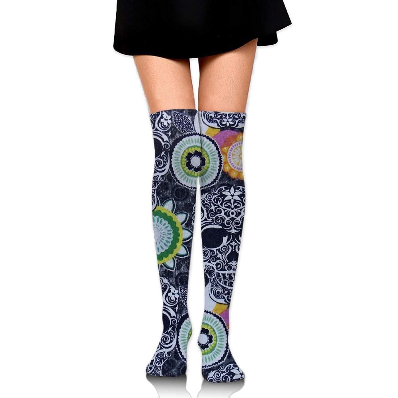 Zaqxsw Skull Women Retro Thigh High Socks Cotton Socks For Teen Girls
