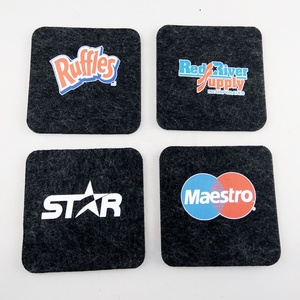 Promotional custom personalized printing laser cut shape absorbent black wool felt tea drink cup coaster