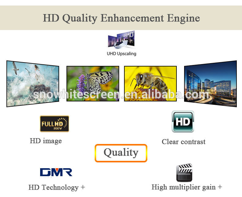 "SNOWHITE 100"" 16:9 digital cinema fixed frame hard projection screen"