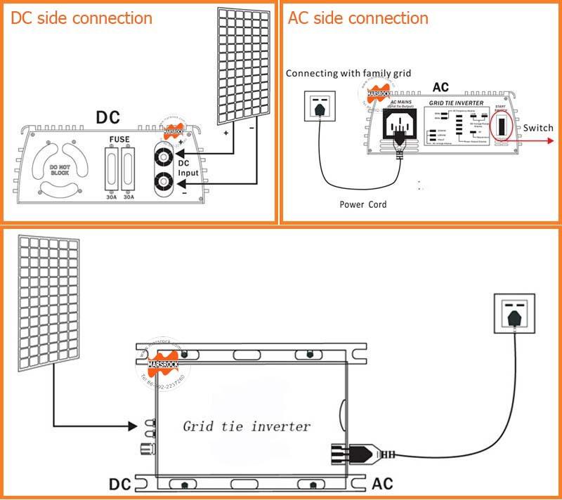 600w 22 60v dc to ac 110 220v grid tie micro inverter with mppt