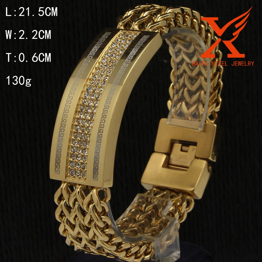 Fashion Bracelets & Bangles Stainless Steel 14k Gold Jewelry Clasp Watch  Band Id Bracelets For Men