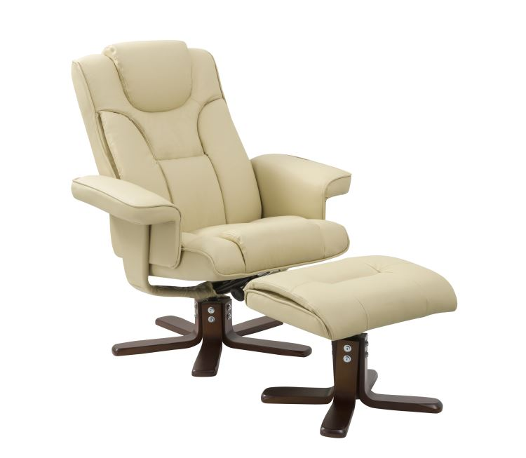 matt Genuine leather PU leisure recliner chair with ottoman, swivel chair with footstool