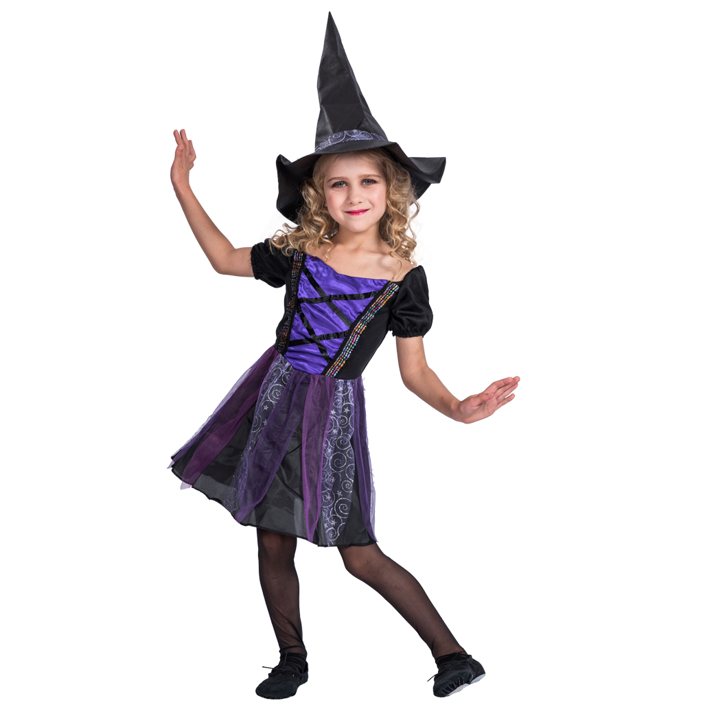 Witch Costume Girls Halloween Black and Purple Kids Fancy Dress Cosplay