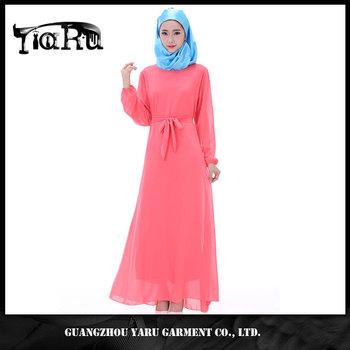 e7dcc14027b Latest design muslim long sleeve maxi dress Muslim chiffon casual long  dress women