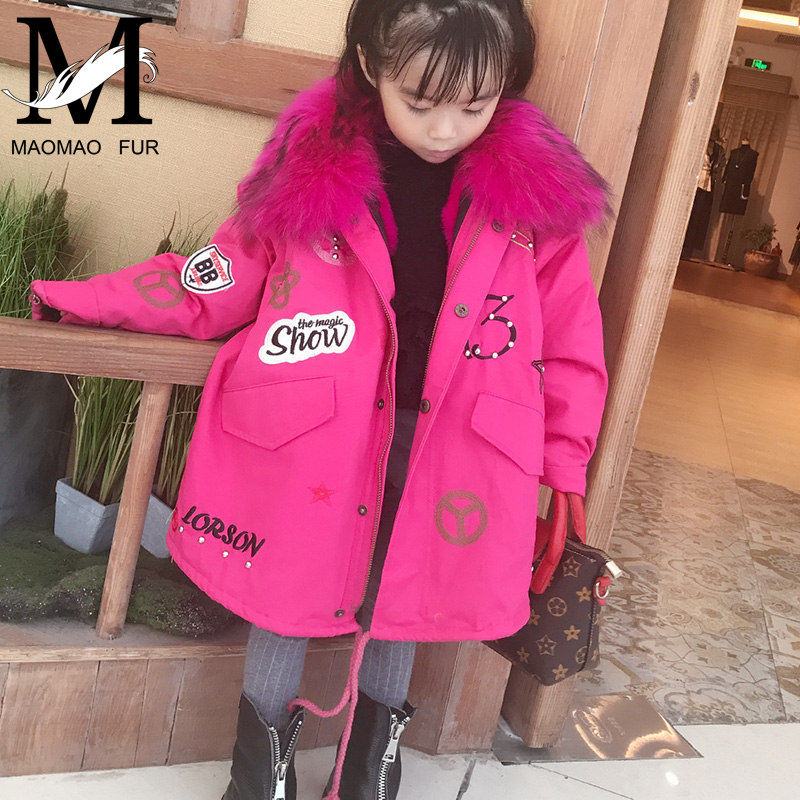 2016 Fashion Wholesale Cute Kids Fur Parka with Genuine Raccoon Fur Hood and Rex Rabbit Fur Lining Children Winter Jacket