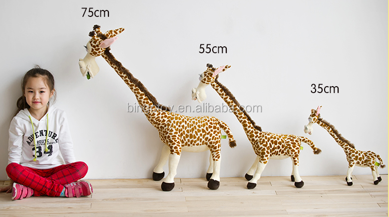 High quality Yellow giraffe shaped stuffed plush toy plush animal toy for kids