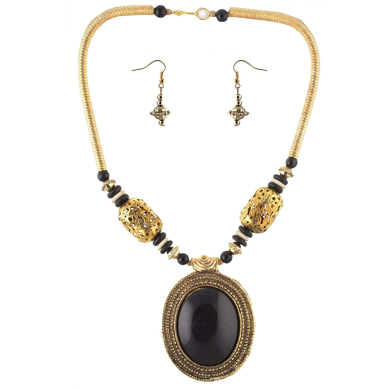 Oreleaa Fashion Beaded Necklace Earrings Set Tibetan Handmade for Women