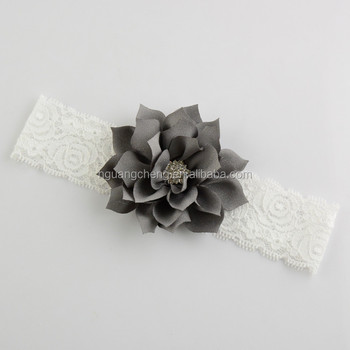 Grey Asian Hair Accessories Flower Print Fabric Children Headband