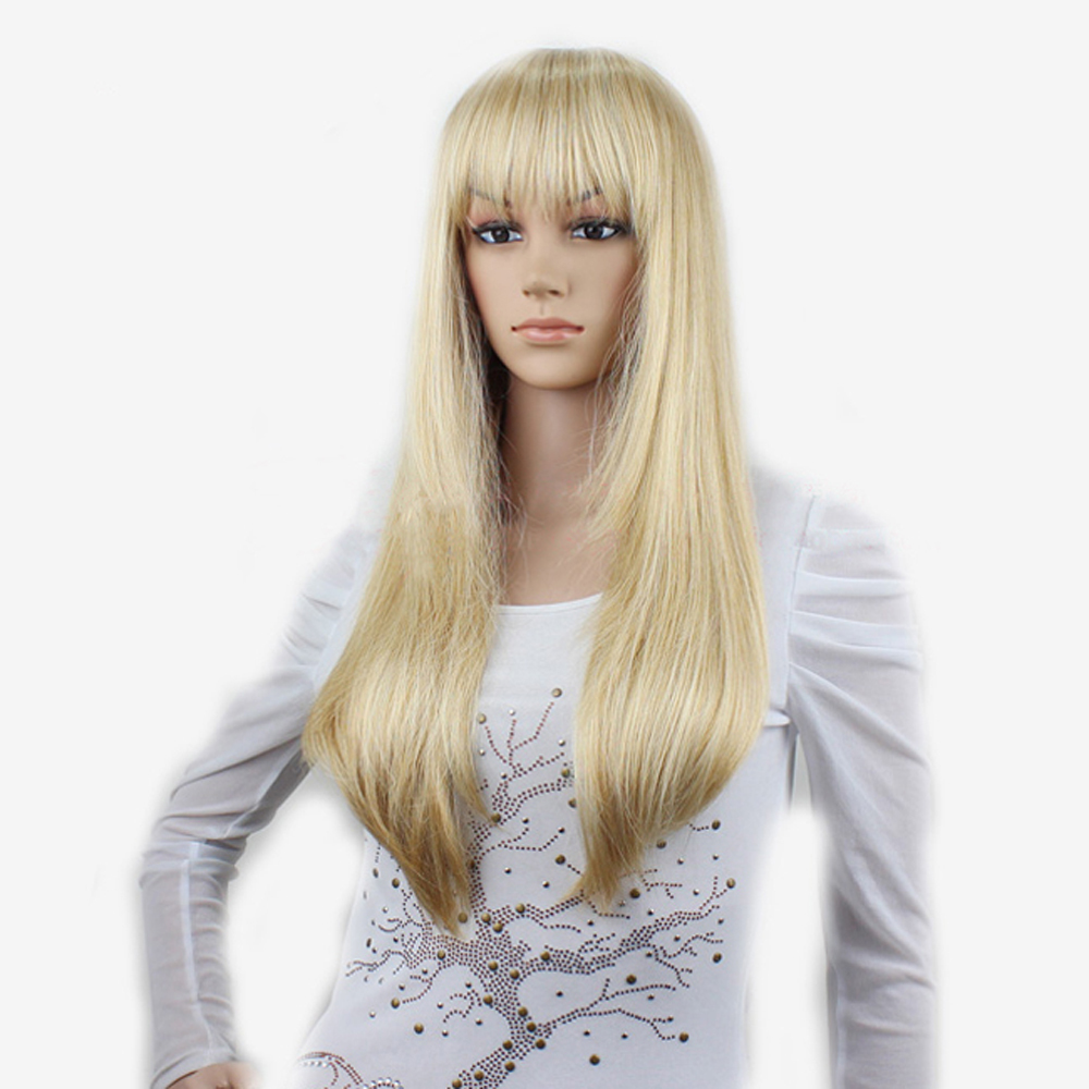 Get Quotations · Cheap good quality synthetic long straight women platinum blonde  wig 24   japanese kanekalon blonde 877a8de2d0d3