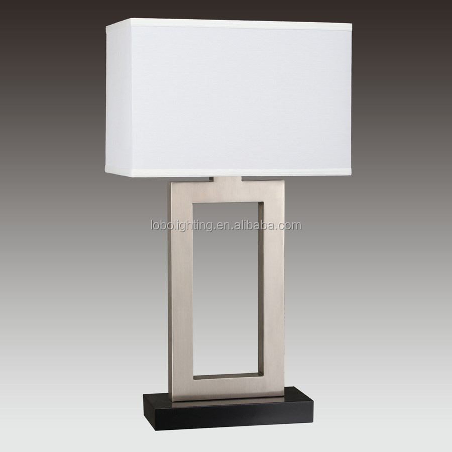 "32""H Brushed Nickel and Matte Black Table Lamp with GU24 socket and Rectangle White Linen Hardback Shade with white acrylic"