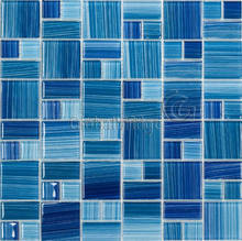 Color strip crystal glass tile stained glass mosaic backsplash decorative wall tiles kitchen