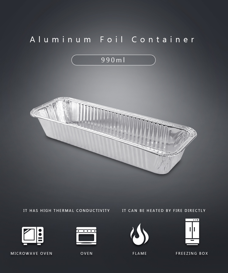 990ml Rectangle Aluminum Foil Container Disposable Take Out Box Bakery Container
