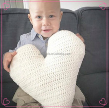 Baby Cute Love Heart Crochet Pillow Soft Kids Knit Cushion