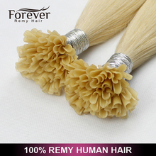 Forever Hair factory wholesale remy human hair Full cuticle i tip hair/u tip hair/flat tip hair extension