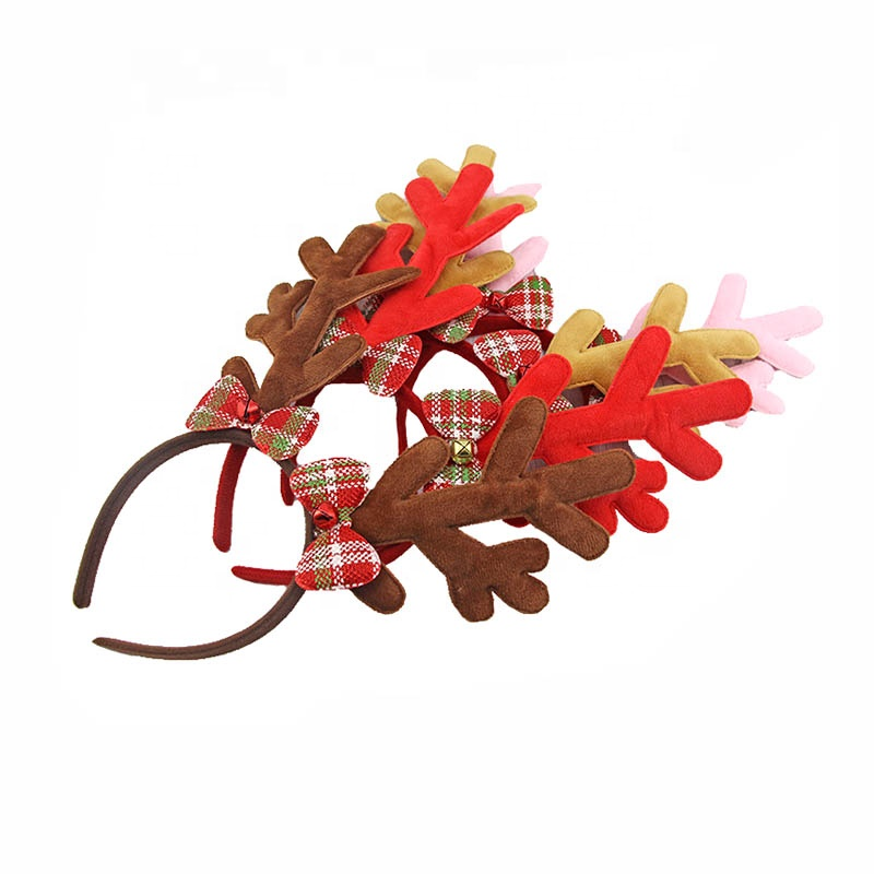 Genya new christmas hairband antlers with bow hairband antlers <strong>headband</strong> with bells