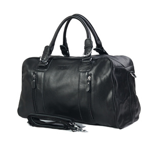 Tiding High Quality Black Genuine Cowhide Large Capacity Travel Bag Leather Weekend Overnight Business Duffel bag For Man
