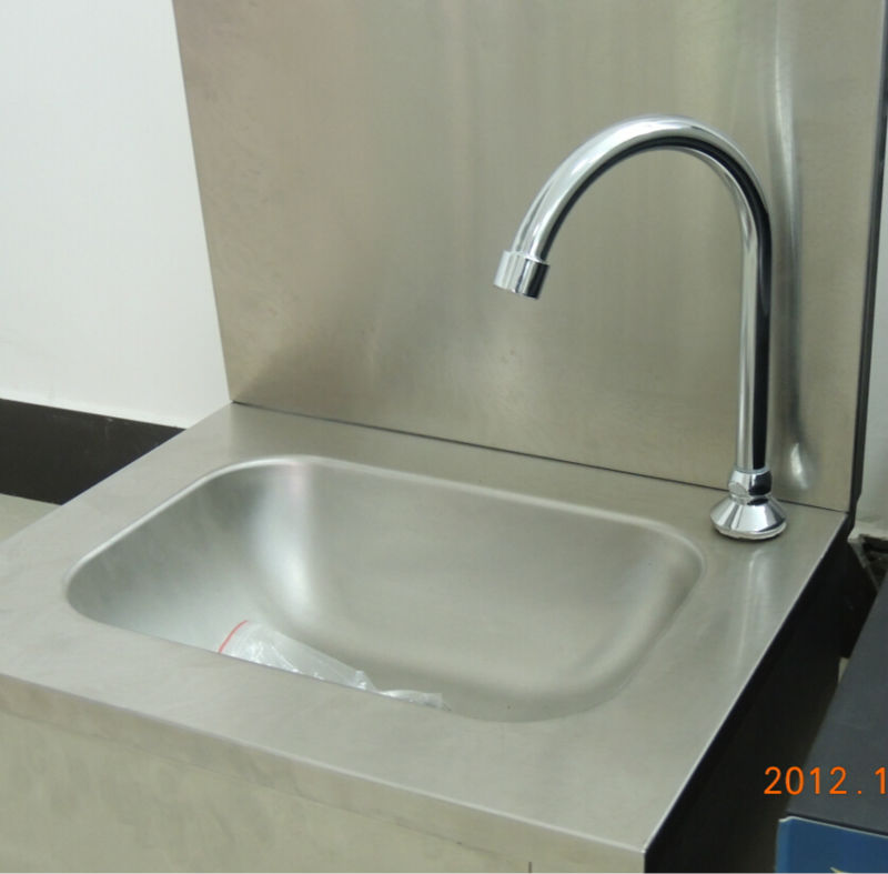 Commercial stainless steel knee operated hand washing sink