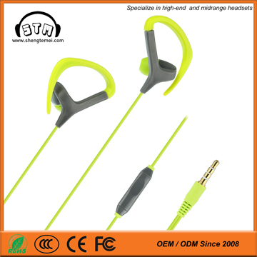 Hot and wholesale sport earphones with mic , hook earphones with mic