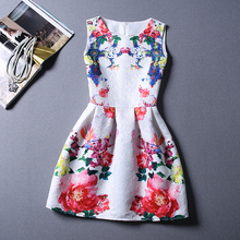 8 20y Girl Dress 2015 Summer Style Fashion Sleeveless Printed Kids Dresses for Girls Clothes